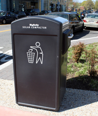 bigbelly trash cans, trash cans, smart trash cans