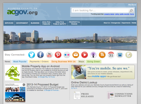 Alameda County California 2013 Best of the Web winner screen shot