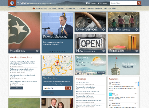 Screen shot of 2013 Best of the Web winner Tennessee