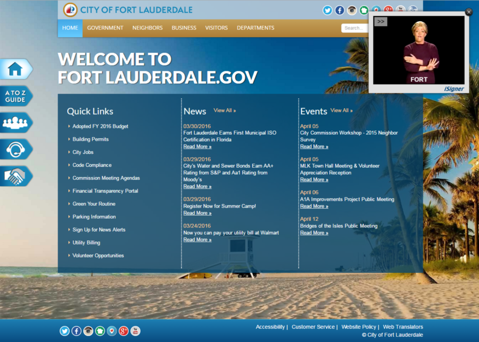 Fort Lauderdale, Fla., Tests Sign Language on City Website