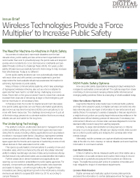 Wireless Technologies Provide a 'Force Multiplier' to Increase Public Safety