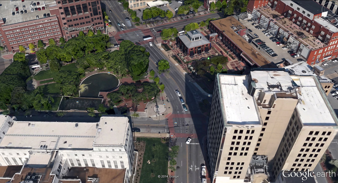 Chattanooga with 3-D buildings in Google Earth