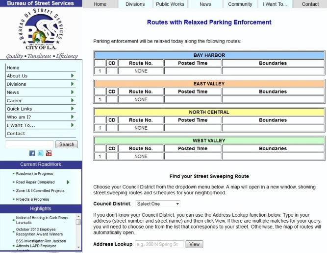 Screenshot of LA Parking website