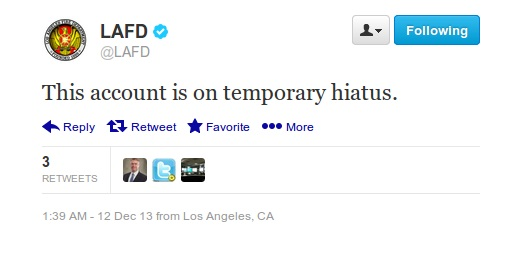 LA Fire Department tweet announcing the account's hiatus