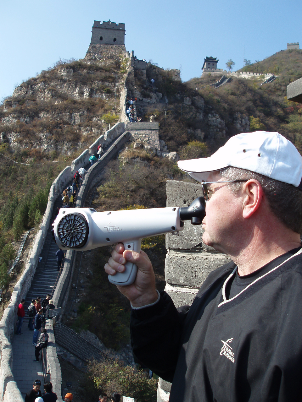 Chuck McGinley of St. Croix Sensory uses the Nasal Ranger at the Great Wall of China.