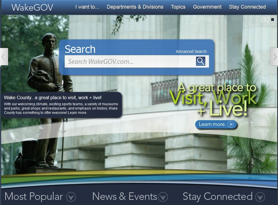 Screenshot of the Wake County, North Carolina website