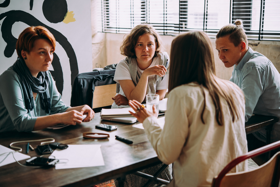 Women collaborating in an office