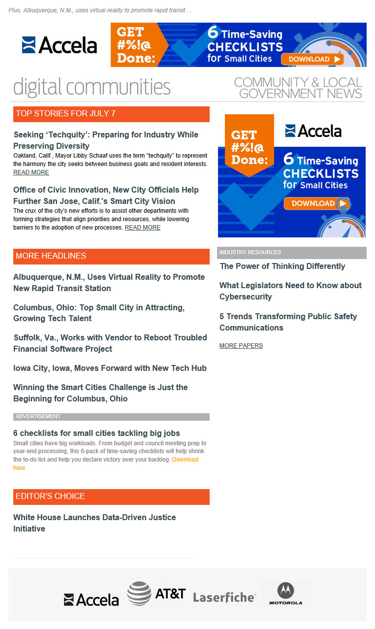 sample email newsletters