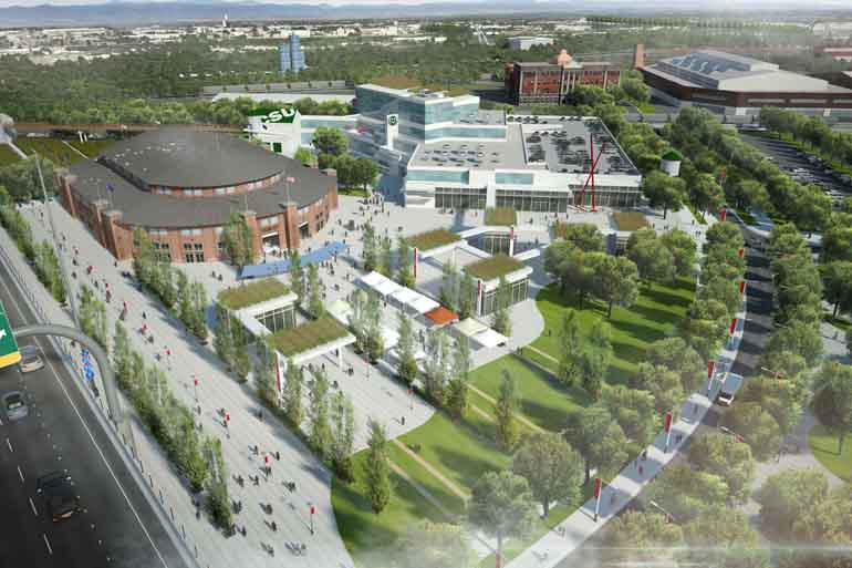 Aerial view of planned redevelopment for National Western site in Denver