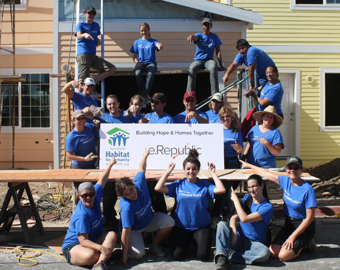 e.Republic employees help build a house
