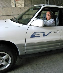 Mayor Bob Foster and his electric RAV4