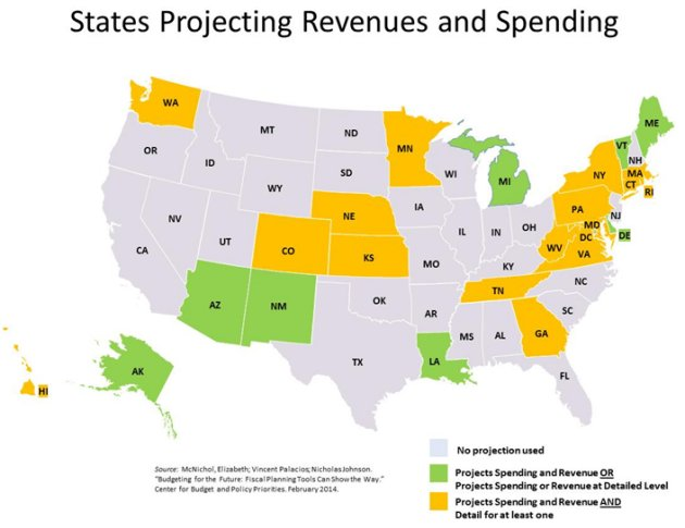 Map of states that project spending