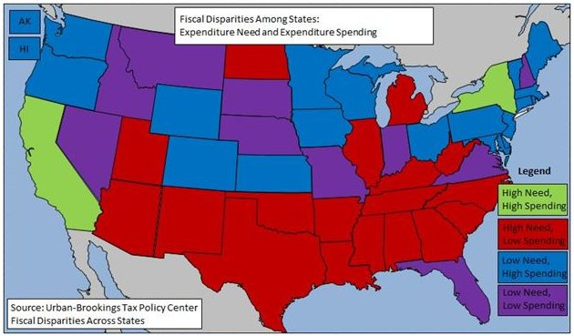 Map of state fiscal disparities