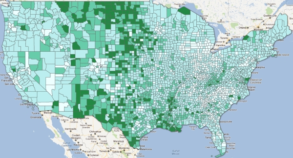 Map Personal Income Per Capita For US Counties - Income heat map us